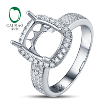 Anniverary 14K White gold Natural 0.4ct Diamond Engagement Ring Jewelry Semi Mount 8x10mm Cushion Cut Setting
