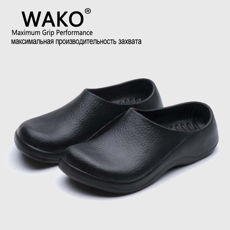 89a86b16d18 WAKO New Men s Chef Kitchen Working Slippers Garden Shoes Summer Breathable  Beach Flat With Shoes Mules