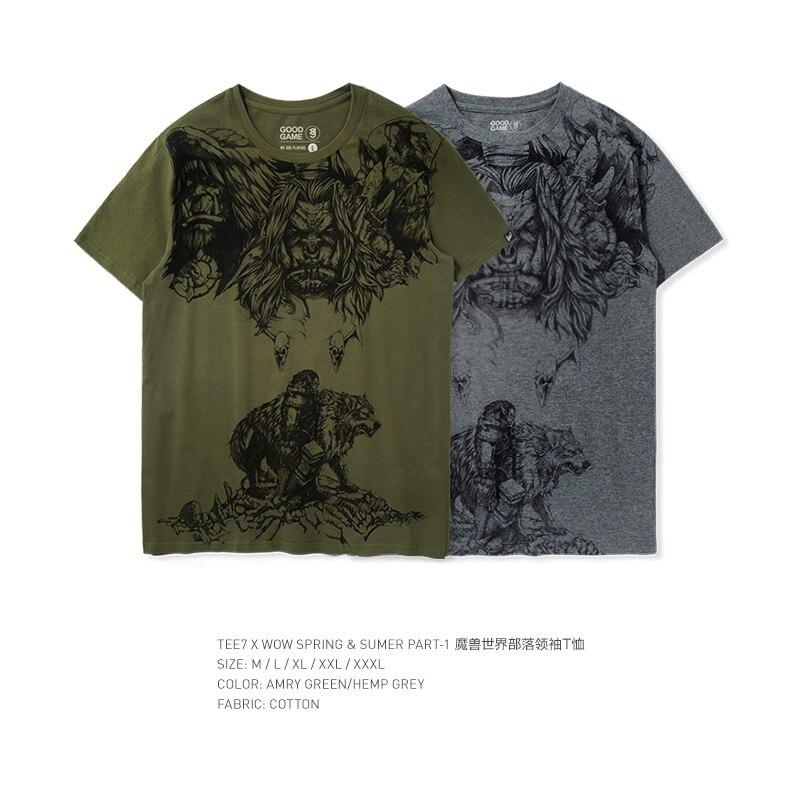 TEE7 Impressos com mangas curtas t shirt dos homens 3d Jogo WOW Garen VS Darius Poleras de Algodão Masculina Hombre Casuais moda tee