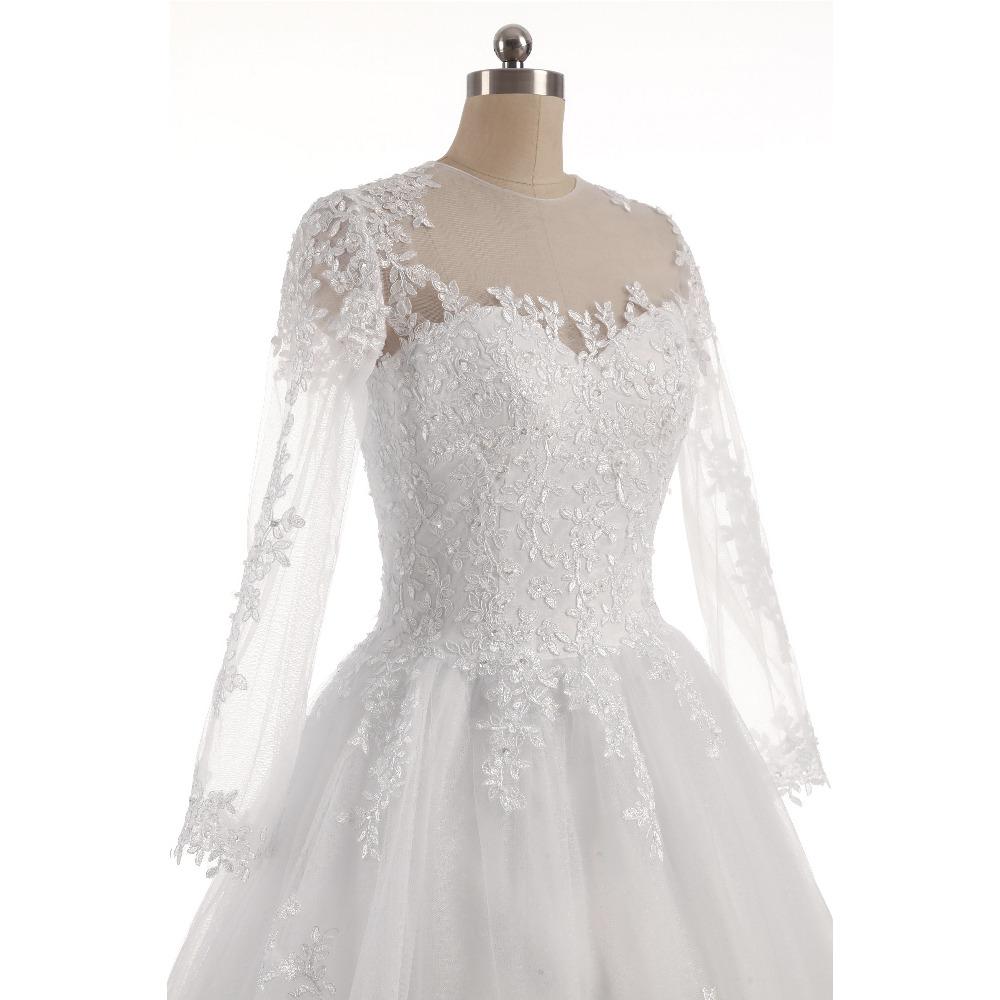 Lover Kiss Vestido De Noiva O-Neck Iusion Back Long Sleeve Wedding Dress Lace Ball Gown Wedding Gowns Custom-Made Wedding Dress 5