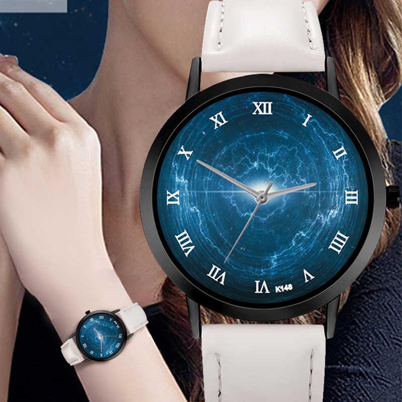 スターマップ宇宙の時計カジュアルクォーツレザーストラップ天文学惑星ユニセックス上品クリエイティブアナログ腕時計モンタフェム