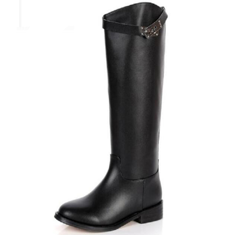 Women Geauine Leather Short Plush Thick Warm Half Boots Retro Buckle Square Heels Winter Boots Fashion