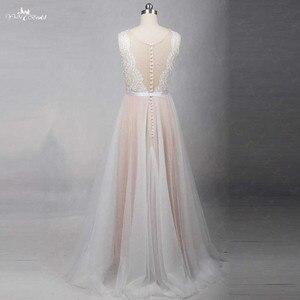 Image 3 - RSW1257 الوهم عودة العنق رخيصة بسيط فستان زفاف بيتش