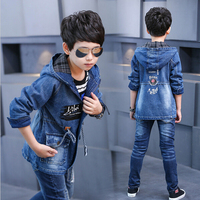 2017 Boy Denim Jackets Fashion Hooded Denim Coats New Kids Trench Coat For Boys Long Jackets