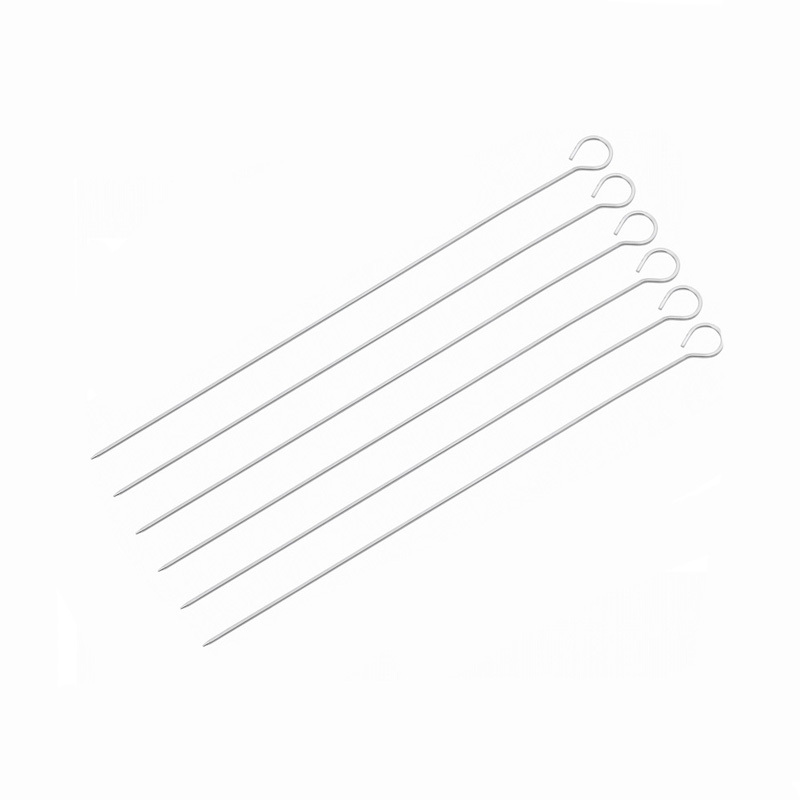Hot Selling Barbeque Skewers 6pcs 15.7inch Kabob Needle Metal BBQ Grill Sticks BBQ Roast Needle Metal Iron BBQ Skewers KC5005