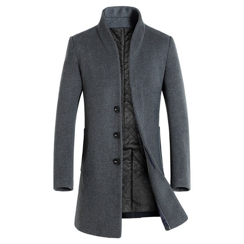 Luxury Winter Trench Coat Men Fashion Solid Stand Collar Overcoat Men Casual Plus Size Abrigos Hombre Button Long Woolen Jacket