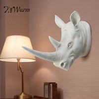KiWarm Fashion Resin Exotic Rhinoceros Head Ornament White Animal Statues Crafts for Home Hotel Wall Hanging Decoration Gift