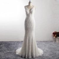 LZ334 Nobility V neckline Sleeveless Long Mermaid Dress Raindrop Shape Lace Bead Wedding Dress Pearls Backless Vestido De Noiva