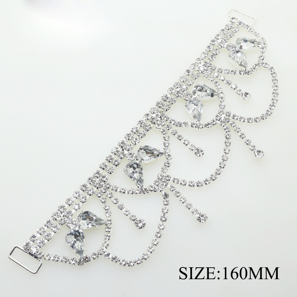 1 pcs lot 160MM Silver Rhinestone Chain Bikini Buckle Connectors Buckles Clothing for Wedding Decoration Beachwear Connector in Buckles Hooks from Home Garden