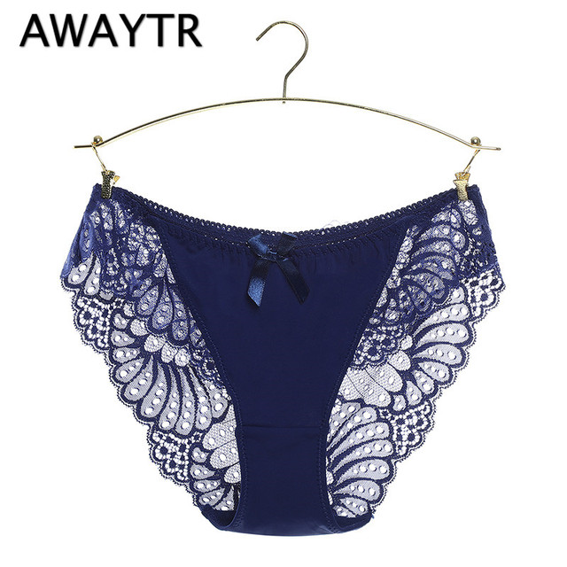 62ea504e4 AWAYTR Women Sexy Panties Transparent Full Lace Bow Decoration Low-waist  Gauze Sexy Underwear Solid