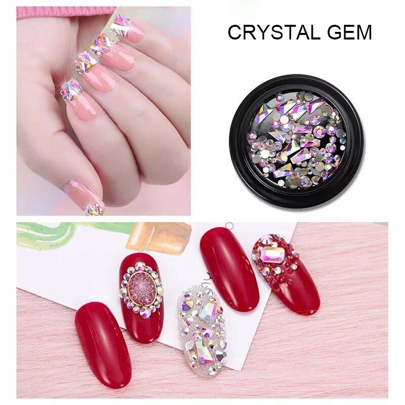 LEAMX Mix Sizes/Box Nails DIY Accessories AB Glass Trapezoid Flatback Rhinestones Art Decorations Gems Shining Decor L442