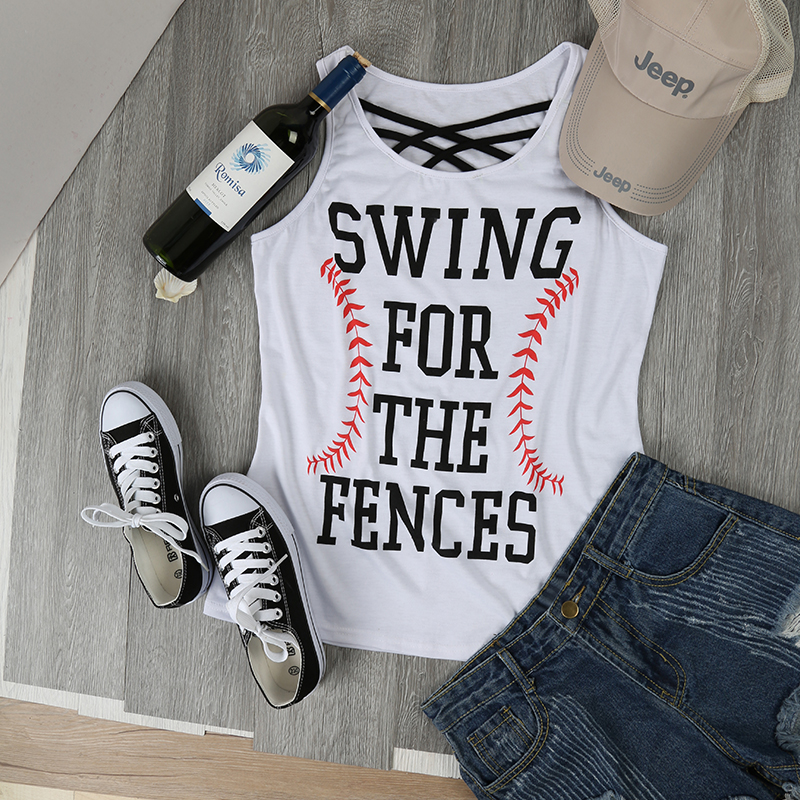Fashion Women   Tank     Tops   Baseball Swing For The Fences Criss-Cross Letter Print   Tank   Casual Lady   Tops