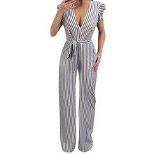 Summer Jumpsuit Women Sleeveless trousers Striped casual jumpsuit low collar sleeveless jumpsuit Mono sin mangas  Y-NEW
