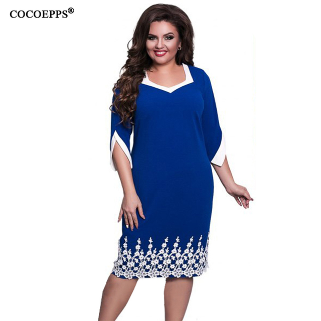 COCOEPPS 6XL 5XL Кружева Лоскутная Женщины Dress 2017 Летний Стиль плюс Размер офис Большой Большой Размер Dress Случайные Свободные синий платья