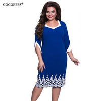 COCOEPPS 2017 Plus Size Women Clothing Elegant Lace Women Dresses Red Blue Casual Dress Knee Length
