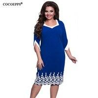 COCOEPPS 2017 Plus Size Women Clothing Elegant Lace Women Dresses Red Blue Casual Dress Knee Length
