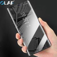 Olaf For Huawei P10 P9 P8 Lite Case Mirror Cover Shell With Stand Holder Smart View