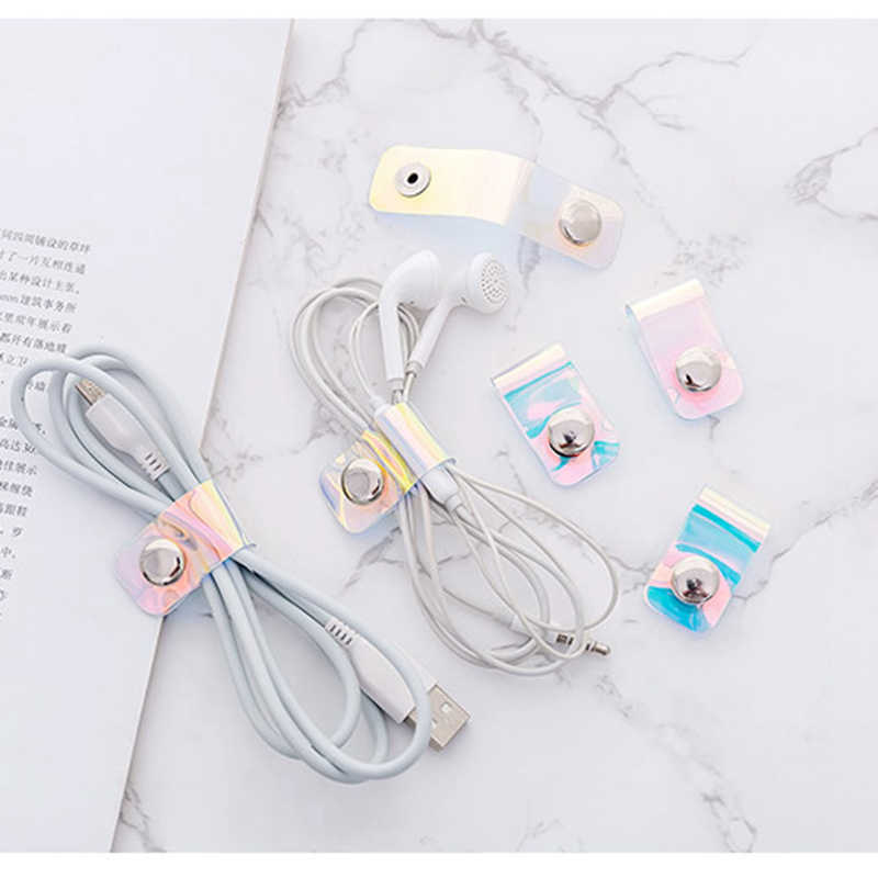 Travel accessories Laser transparent Cable Winder Earphone Protector USB Phone Holder Accessory Packe Organizers Dropshipping