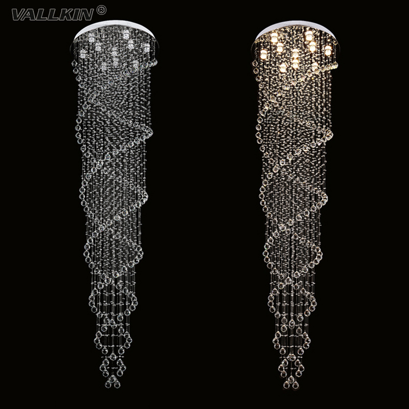 VALLKIN LED Pendant Light for Dining Room Modern Lamp Double Spiral Staircase Fixtures with K9 Clear Crystal D70CM Silver Canopy vallkin modern chandelier new hot sale luxury clear crystal lighting ceiling lamp fixtures for indoor dining room stairs hallway