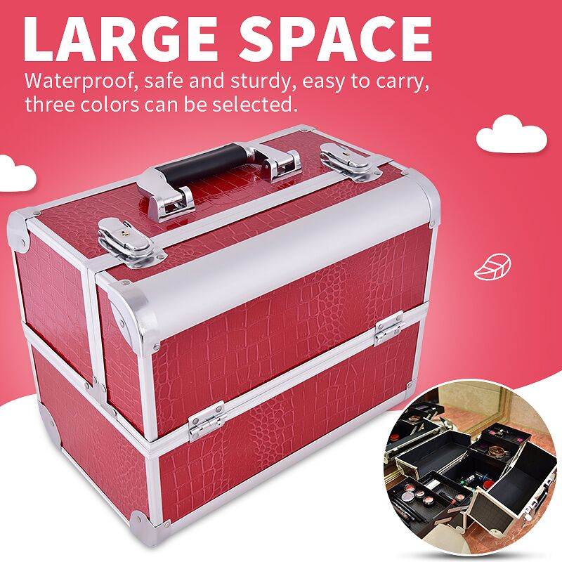 Hot professional Aluminium PU Make up Box Makeup Case Beauty Case Cosmetic Bag Multi Tiers Lockable Jewelry Box for gift простое обручальное кольцо