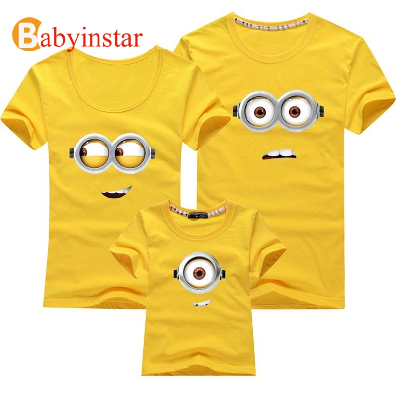 Family Matching Outfits Mother Daughter Son Father Short Sleeve Cartoon Minions Fashion Cotton T Shirt Family Look Plus Size plus size bell sleeve lace insert t shirt