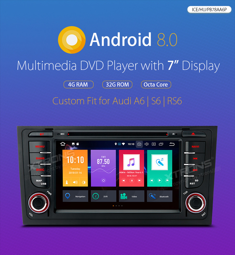 US $331 1 23% OFF|XTRONS 7'' Android 8 0 Radio GPS DAB WiFi OBD Car DVD  Player for Audi A6 S6 1999 2000 2001 2003 RS6 2002 2004 allroad 1999  2005-in