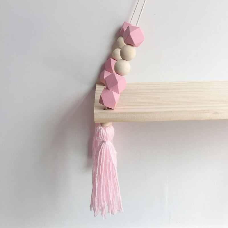 Ins nordic prateleiras de parede decoração da parede rack de armazenamento de madeira grânulos borla armazenamento balanço prateleira do miúdo organizador do quarto para brinquedos