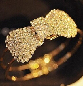 S71 new fashion jewelry accessories bling claw drill full rhinestone lovely crystal bow bangle Free shipping