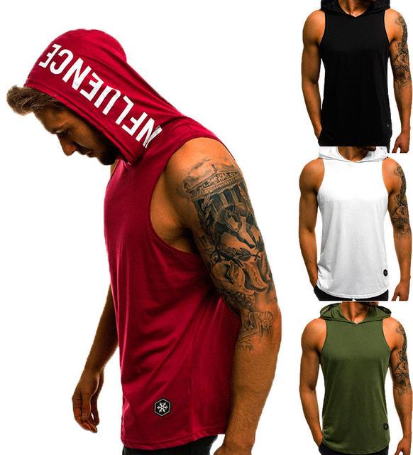 Men's Sleeveless Workout Hooded Tank Tops 2