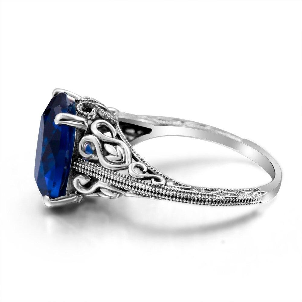 Szjinao amor Marco Cojines 2ct zafiro azul oscuro solitario anillo ...