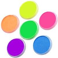 ハロウィンネオンボディペイント顔絵画6色の選択描画顔料30グラム水ベースの顔メイククリームペーストuv glowペイント