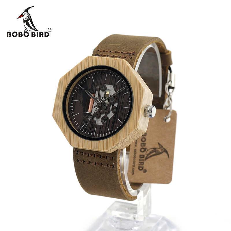 643ae416309c ... BOBO BIRD hombres reloj octogonal único bambú reloj bayan kol saati  relojes elegantes con correa de