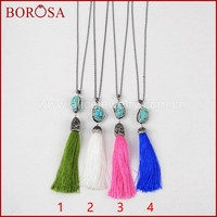 BOROSA 30 Chain Necklace Freeform Blue Howlite Stone Long Silk Tassel Link Chain Necklace Rhinestone Pave