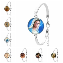 2019 New Believers Christian Virgin Mary Convex Round Girl Bracelet Photo Glass Dome Womens Jewelry