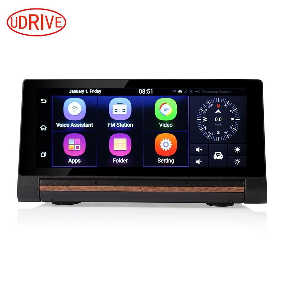 Udrive 7 дюймов 3 Г Приборной Панели DVR с Двумя Объективами Android 5.0 GPS Dash навигации Камеры Bluetooth 1 ГБ RAM Wi-Fi Hotspot FHD 1080 P DVR GPS