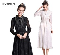 RYTISLO Women Fashion Dress Trun Down Collar Long Sleeves Ankle Length Elegant Lace Dress Casual Lovely