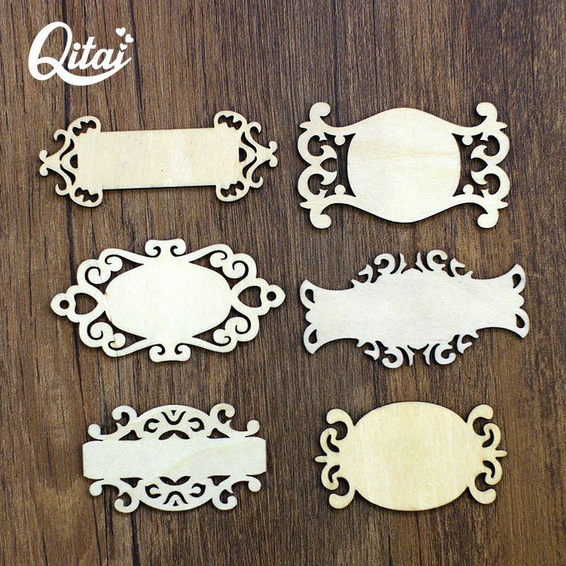 QITAI 36Konci / lot 6 Nebojani znakovi Oblik drva furnira DIY scrapbooking obrti Home Accessories dekoracija Embelishment WF041