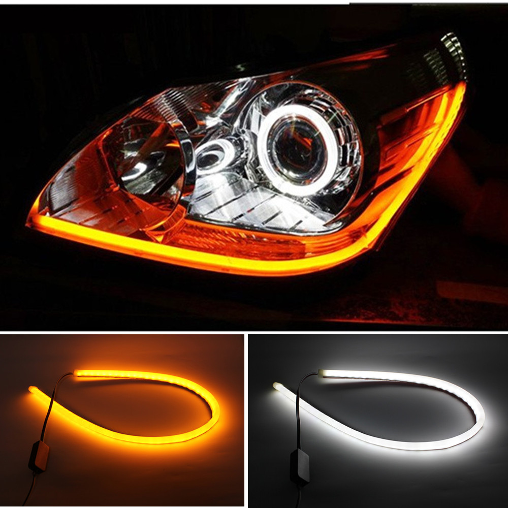2pcs 60cm white amber yellow led car light strip 12v led ambient lighting car light strip in. Black Bedroom Furniture Sets. Home Design Ideas