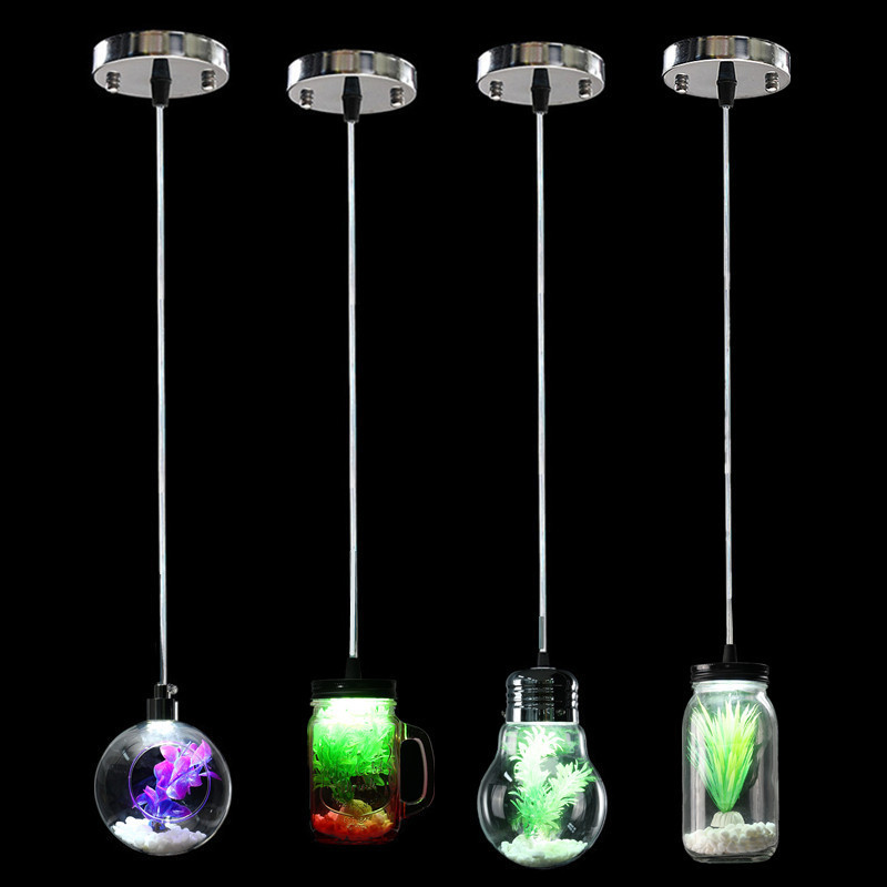 Modern 3W Bulb Jar Cup Sphere Style Glass Plant Pendant Light Hanging Lamp For home Lounge Diningroom Bedroom Hallway Decor neje zj0059 6 cute penguin style self watering plant pot planter w straw cup black