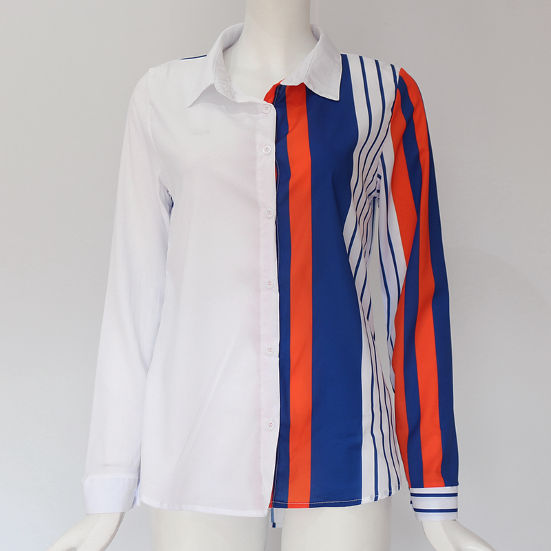 Women Blouses Fashion Long Sleeve Turn Down Collar Office Shirt Leisure Blouse Shirt Casual Tops 37