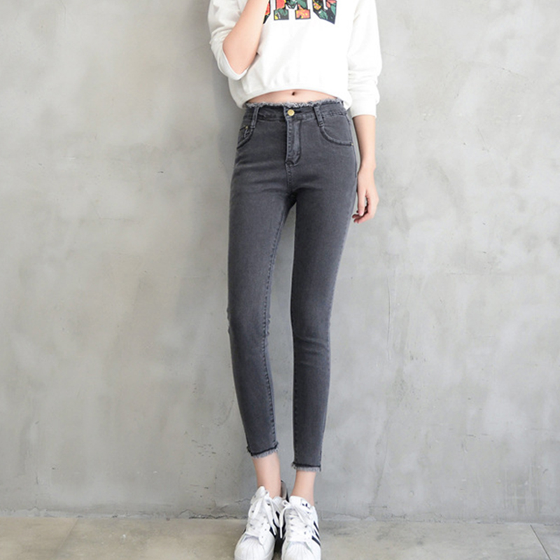 With High Waist   Jeans   washed casual skinny pencil pants Woman High Elastic plus size Ankle-length   Jeans   trousers   Jeans   for women