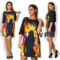NEW 2017 plus size women clothing 6xl vestidos fashionable Printing summer women dresses big sizes casual o-neck Vintage Dress