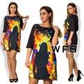 Nuevo 2017 plus tamaño ropa 6xl vestidos mujeres vestidos tallas grandes casual o-cuello de la impresión de moda de verano vintage dress