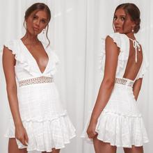 Boho Sexy 2019 New Summer Solid For women dresses Embroidery High waist Bow V-neck female dress Open back Hollow ladies