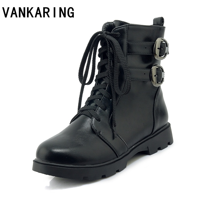 VANKARING classic motorcycle boots pu leather autumn winter buckle low thick heels casual shoes zip black ankle boots for womenVANKARING classic motorcycle boots pu leather autumn winter buckle low thick heels casual shoes zip black ankle boots for women