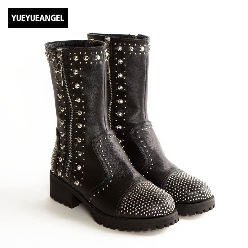 купить 2018 New Women Rivet Punk Motorcycle Boots Genuine Leather Black Female Shoes Rock Zipper Mid Calf Block Med Heel Martin Boots онлайн