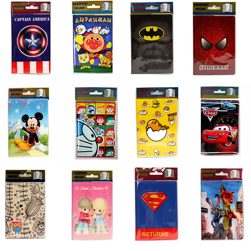 20 Styles 2017 Fashion Cartoon Superman Mickey Passport Holder PVC Leather Travel Passport Cover Case Card ID Holders 14*9.6cm fashion new passport holder documents bag pu leather card holder travel passport id cover card case