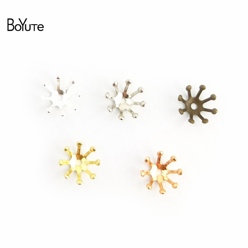 BoYuTe 100Pcs 10MM 13MM Metal Flower Bead Caps Diy Hand Made Jewelry Accessories (4)