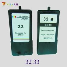 2 PK Black & Color  Ink Cartridge for Lexmark 32 33 For Lexmark P315 P4330 P4350 P450 X3350 X5250 X5270 X7170 X7300 Z815 Z816 for lexmark 33 ink cartridge for lexmark p315 p4330 p4350 p450 x5410 x5450 x5470 x7300 x7350 x8310 x8350 z810