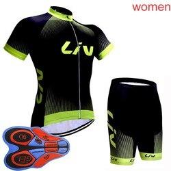 2018 נשים ליב 100% לנשימה רכיבה על אופניים קצרים שרוולי ג 'רזי ביב מכנסיים סטי קיץ מירוץ אופניים בגדי אופני בגדי 3004L